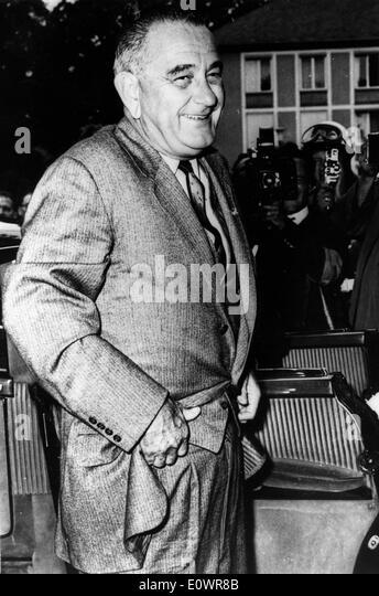 President Johnson standing outside in Washington D.C. - Stock Image