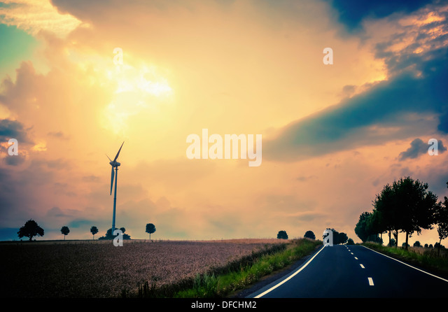 Germany, Saxony, Muldental, View of wind turbine in field - Stock Image