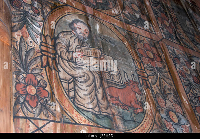 Norway, Oslo, Norsk Folk Museum (aka Norsk Folkemuseum). Historic wooden Stave Church from Gol, c.1200. Interior, - Stock Image