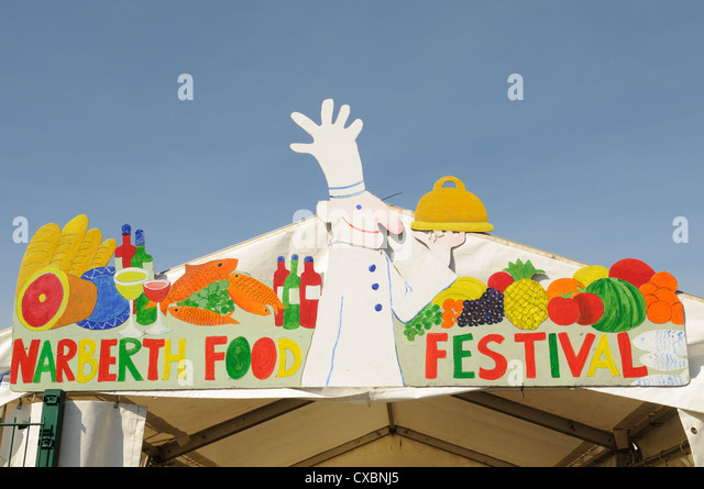 Sign at entrance to Narberth Food Festival Pembrokeshire Wales Cymru UK GB - Stock Image