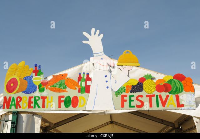 Sign at entrance to Narberth Food Festival Pembrokeshire Wales Cymru UK GB - Stock Image