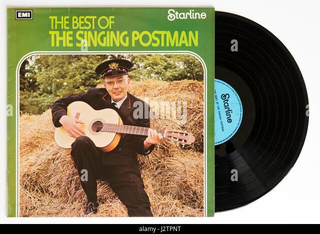 The Singing Postman album on vinyl - Stock Image