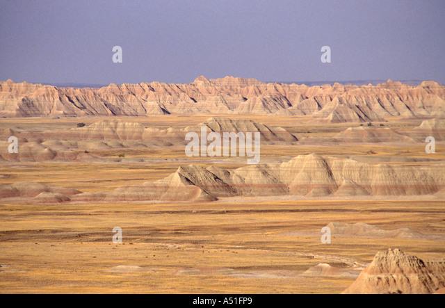 South Dakota Badlands National Park Scenic Loop Road eroded reddish buttes cliffs geologic formations - Stock Image