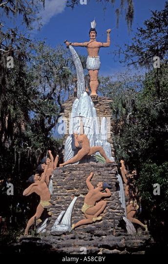 Daytona Ormond Beach Tomoka State Park, Chief Tomokie Statue - Stock Image