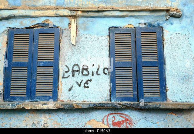 Blue windows-Senegal - Stock Image
