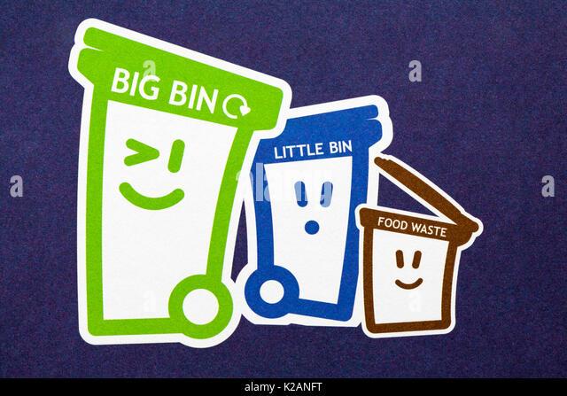 Detail on recycling leaflet showing big bin, little bin and food waste bin - Stock Image