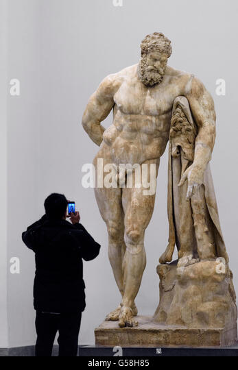 Naples. Italy. The Farnese Hercules, Naples National Archaeological Museum. - Stock Image
