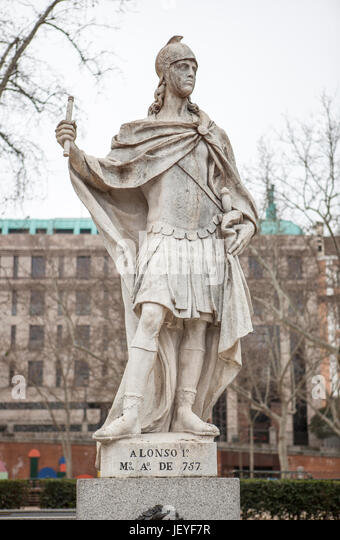 Madrid, Spain - february 26, 2017: Sculpture of Alfonso I of Asturias at Plaza de Oriente, Madrid. He was called - Stock Image