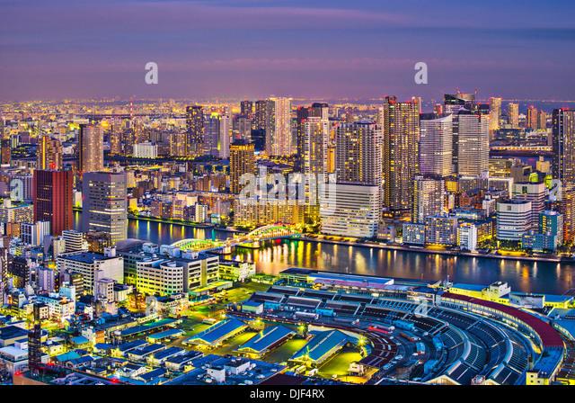 View of Tokyo, Japan over Tsukiji Fish Market. - Stock Image