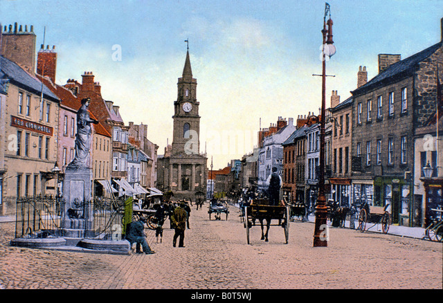 Berwick upon Tweed Marygate and the Guildhall in this late 19th century street scene of the most northern town in - Stock Image