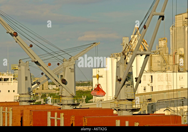 Tampa Bay Florida  Port of Tampa red cargo ship at dock unloading open space text space copy space type space - Stock Image