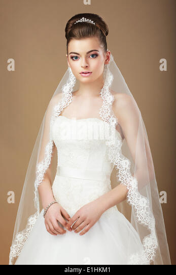 Wedding. Portrait of Lady with White Veil - Stock Image