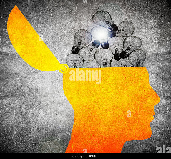 head with bulbs  digital illustration - Stock-Bilder