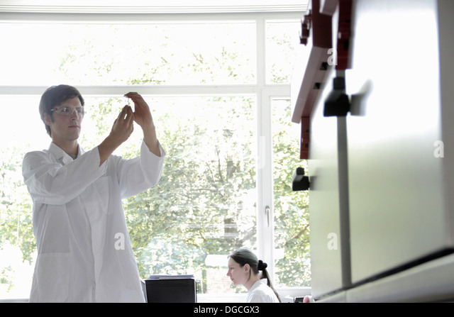 Chemistry students in laboratory - Stock Image