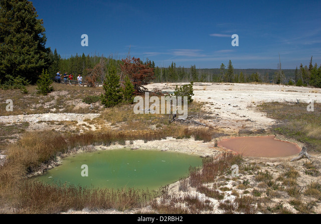 Thumb paint pots, West Thumb Geyser Basin, Yellowstone National Park, Wyoming, USA - Stock Image
