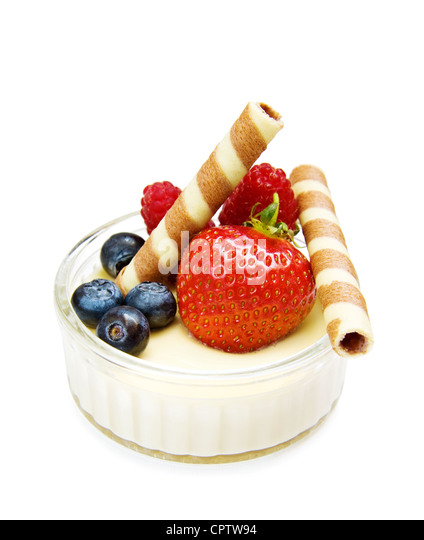 Healthy dessert - strawberry, raspberry with chocolate waffles and yogurt. Isolated on white. - Stock Image