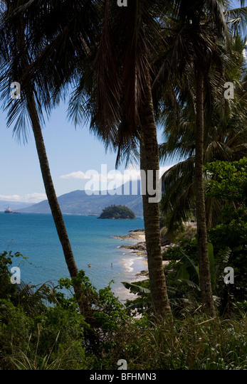 Beaches of Ilhabela. County of São Paulo state situated at north coast. Great place for snorkeling. - Stock Image