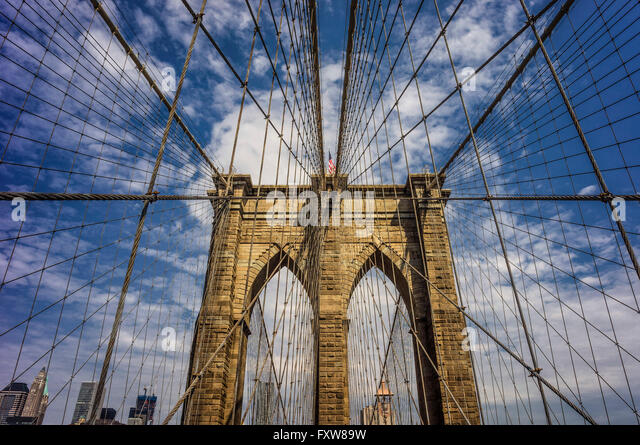 Brooklyn bridge,  New York , USA - Stock Image