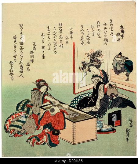 'Women and a Boy by Brazier (Hibachi), 1816.  Artist: Hokusai - Stock Image