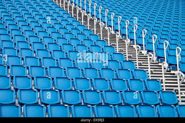 A background from blue seats of a stadium - Stock-Bilder