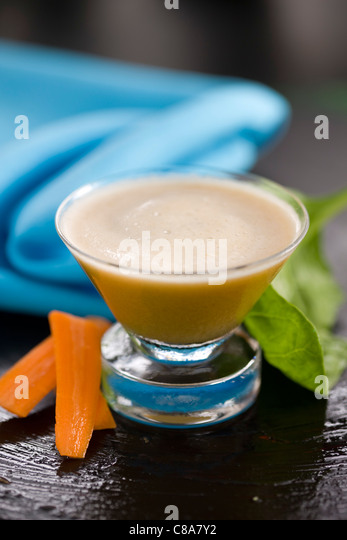 Spinach,carrot and turnip smoothie - Stock Image