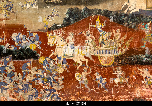 Royal Palace , Wall Painting, Phnom Penh , Cambodia - Stock-Bilder