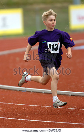 Taking part in an athletics match - Stock Image