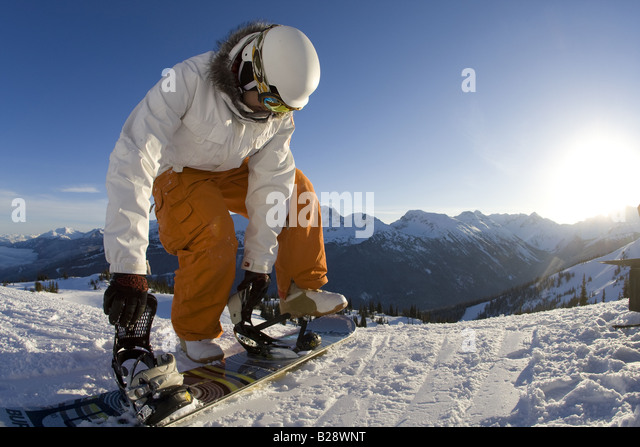 Enjoying  groomed runs Whistler British Columbia Canada - Stock Image