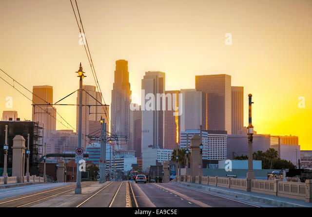 Los Angeles cityscape at the sunrise - Stock Image