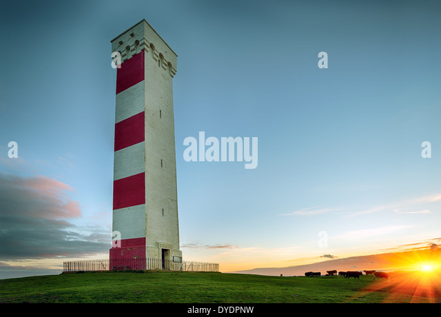 Sunset at the Gribbin Head lighthouse in Cornwall - Stock Image