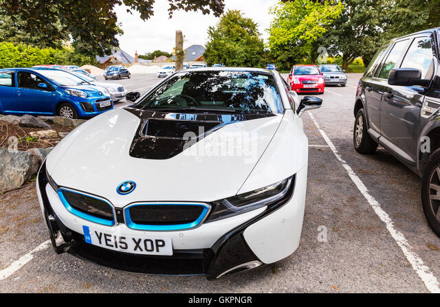 BMW i8 sports car plug-in hybrid sports cars developed by BMW vehicle parked supercar electric fuel economy Concept - Stock Image