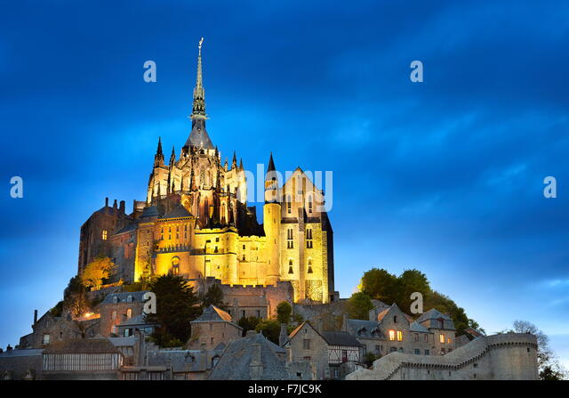 Mont Saint Michel at evening, Normandy, France - Stock Image