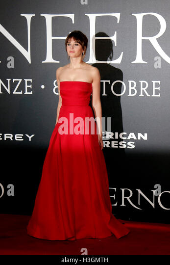 Florence, Italy. 8th October, 2016. Felicity Jones Florence 8th October 2016. 'Inferno' World Premiere. - Stock Image