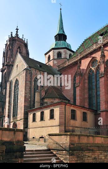 The Saint-Georges Church / Église Saint-Georges at Sélestat, Alsace, France - Stock Image