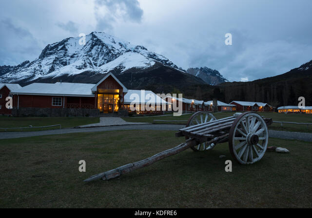 Hotel Las Torres in Torres del Paine National Park, Chile - Stock Image