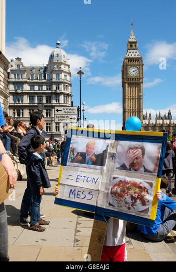 London, UK , 2 July 2016: Crowds of protesters on the March for Europe demonstration at Parliament Square voicing - Stock Image