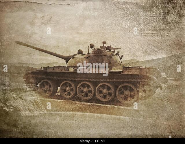 T-55 tank on display at Park of Military History in Pivka, Slovenia - Stock Image