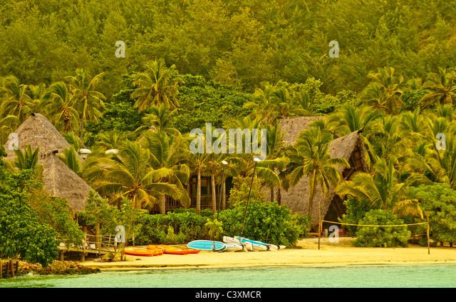 Likuliku Lagoon Resort, Beach and Lodge, Malolo Island, Mamancuas, Fiji - Stock Image