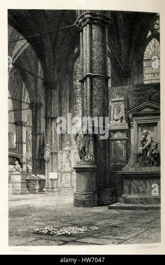 Dickens' tomb is in the south transept of the Poets' Corner at Westminster Abbey in London, England, and is - Stock Image