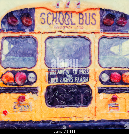Back of a school bus Polaroid sx 70 manipulated photograph - Stock Image