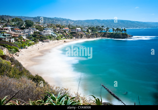 An image of a beautiful cove called Crescent Bay in Laguna Beach, California. - Stock Image