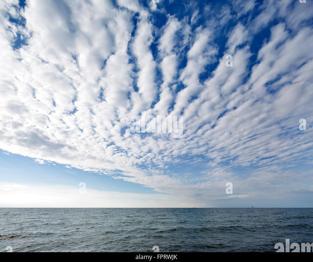 Cloud formation over the Baltic Sea, Cirrocumulus in Kühlungsborn, Meckenburg-Vorpommern, Germany - Stock Image