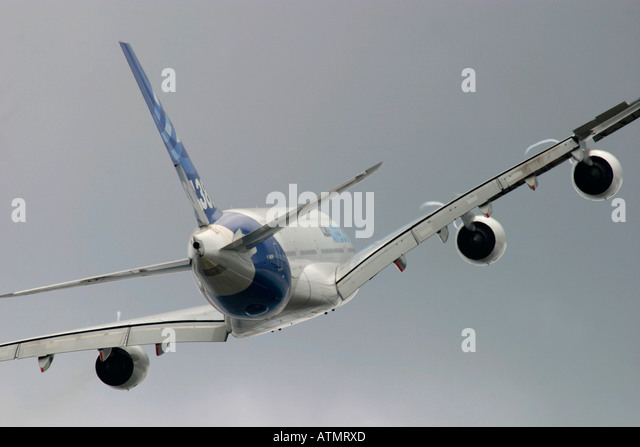 Airbus A380 during flight rear view - Stock Image