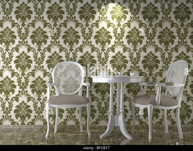 interior design with cassical flowery wallpaper in green - Stock Image