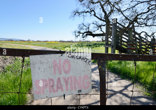 No spraying sign at organic farm - Stock Image