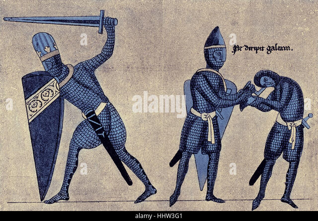 Armour and weapons of 12th century Germany, a knight helps another knight to remove his helmet, c. 1165 - 1175 - Stock Image