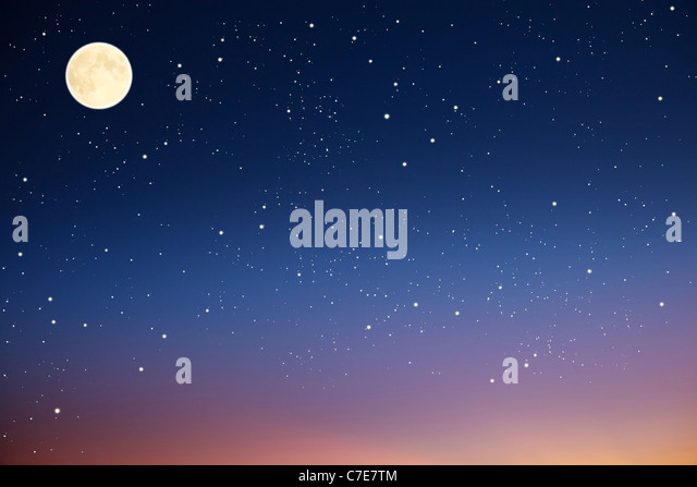 Night sky with moon and stars. - Stock Image