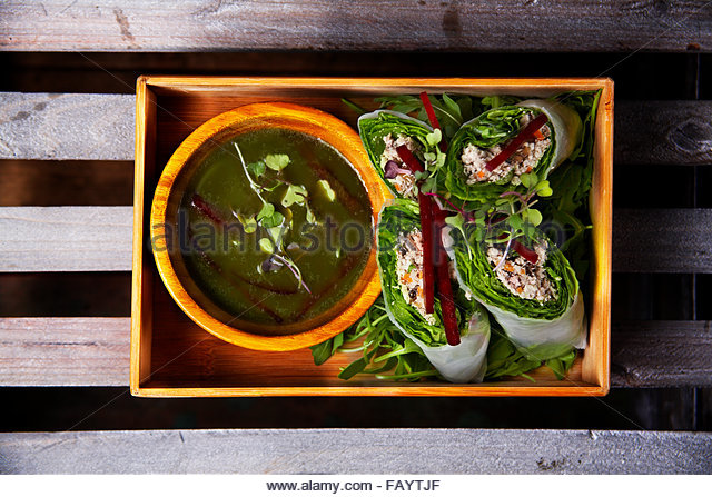 Vietnamese pork rolls with cilantro,mint,ginger sauce - Stock Image