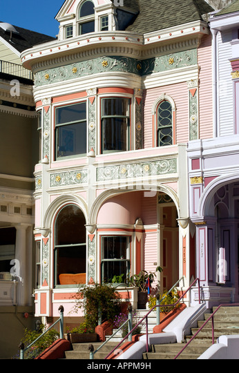 Victorian architecture on Alamo Square San Francisco USA - Stock Image