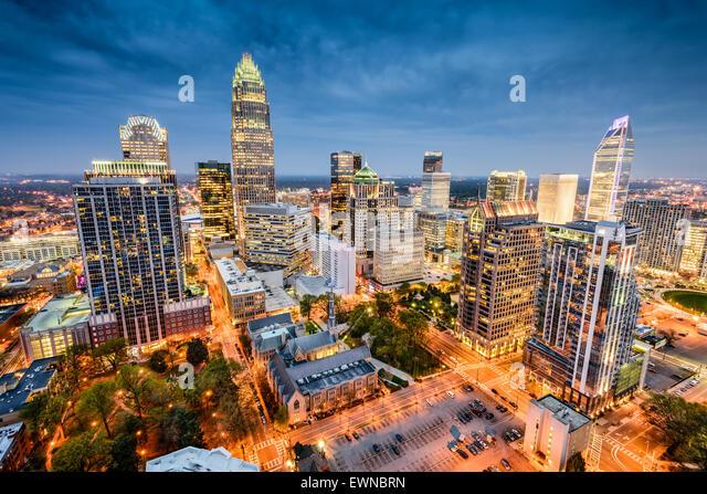 Charlotte, North Carolina, USA uptown cityscape. - Stock Image